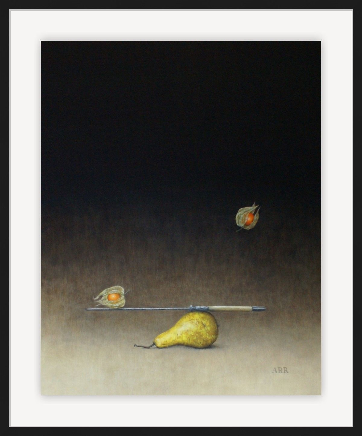 Pear with Balancing Knife and Physalis by Alison Rankin