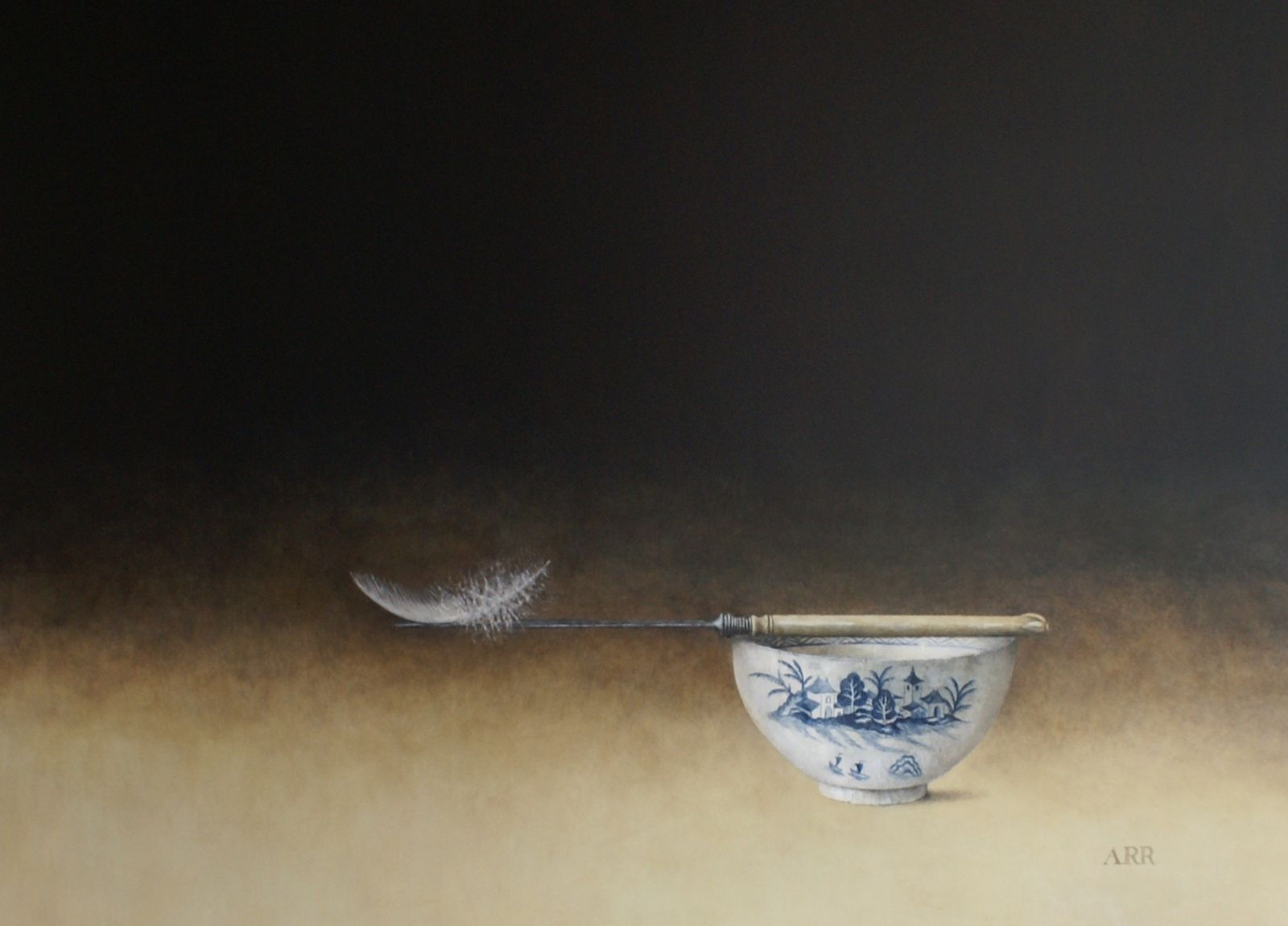 Chinese Bowl with Knife and Balancing Feather by Alison Rankin