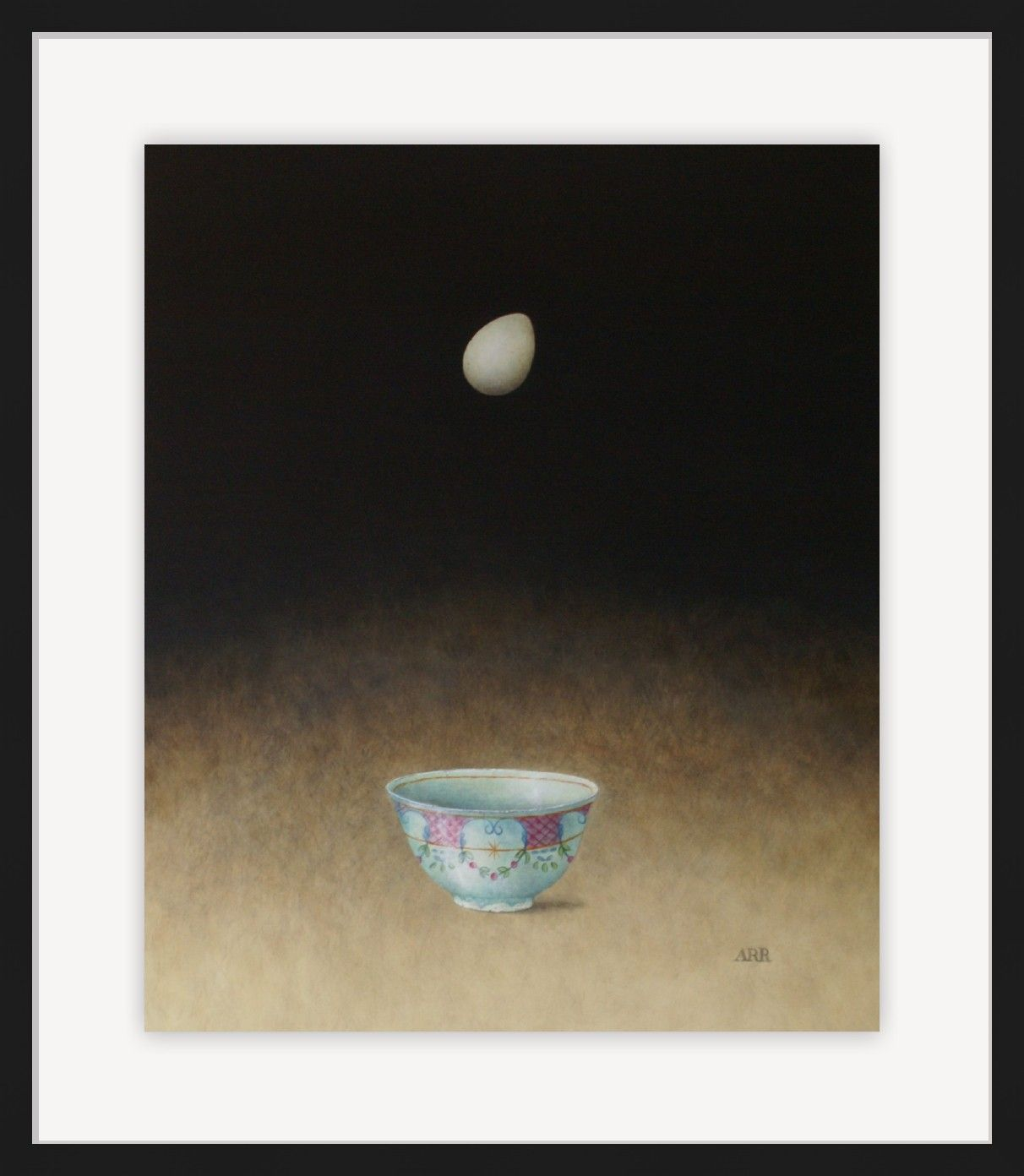 Turquoise Bowl with Falling Egg by Alison Rankin