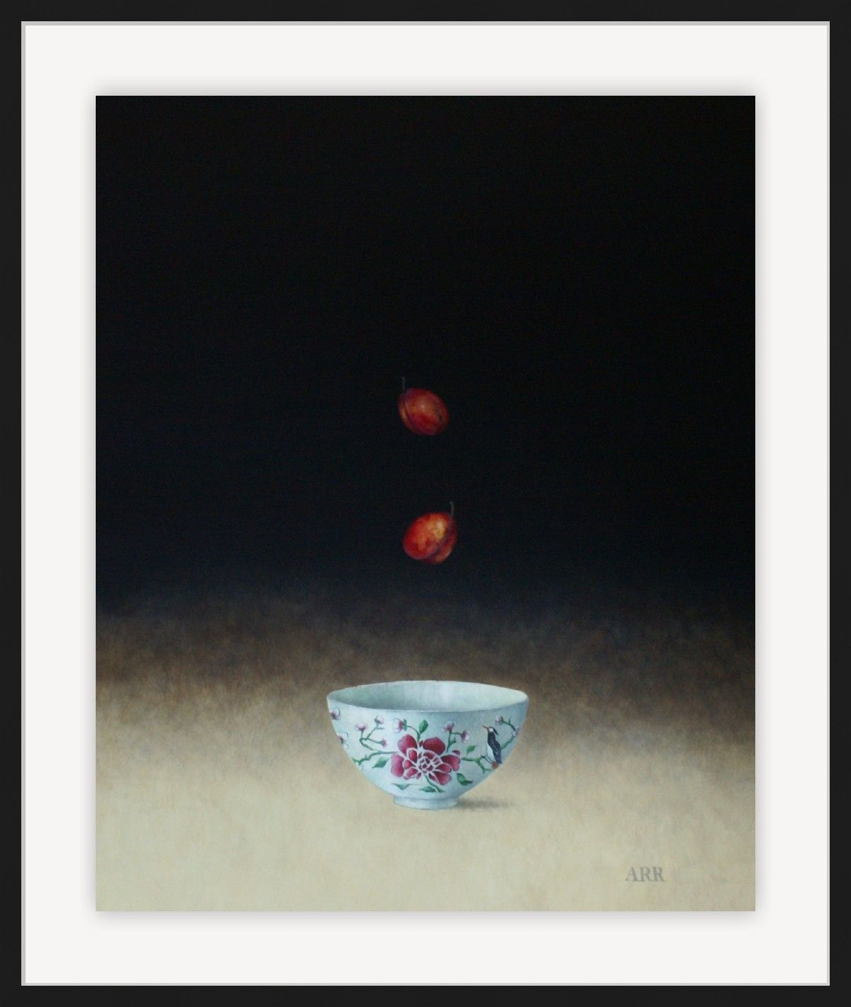 Rose Bowl and Two Falling Plums by Alison Rankin
