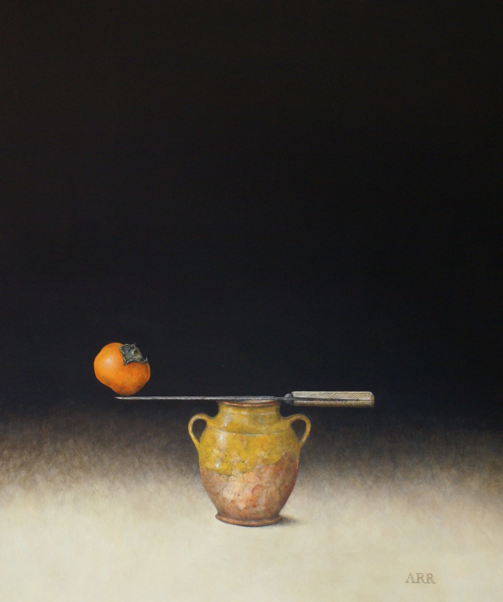 French Jar with Knife and Persimmon by Alison Rankin