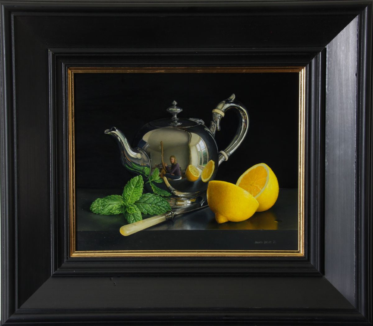 Still Life with Silver Teapot, Lemon and Mint by Jessica Brown