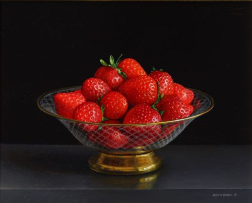 Jessica Brown - Still Life with Strawberries in an Engraved and Gilded Glass Bowl