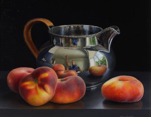 Jessica Brown - Still Life with Still Life with Silver Jug and Flat Peaches
