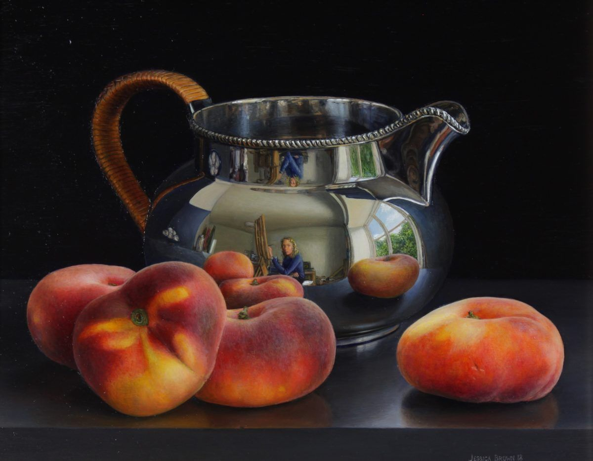 Still Life with Still Life with Silver Jug and Flat Peaches by Jessica Brown