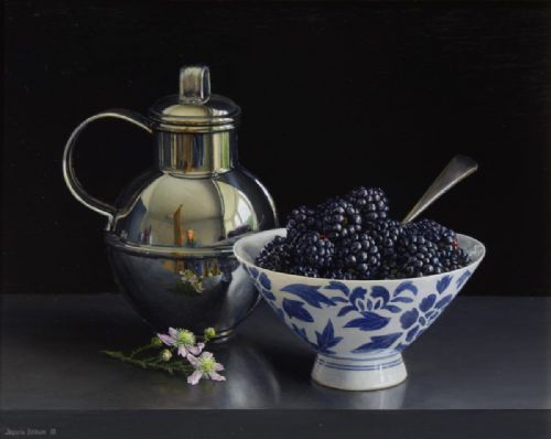 Jessica Brown - Still Life with Blackberries in a Porcelain Bowl and Silver Jersey Cream Jug