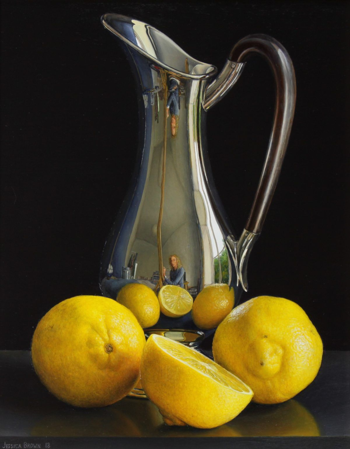 Still Life with Art Nouveau Jug and Lemons by Jessica Brown