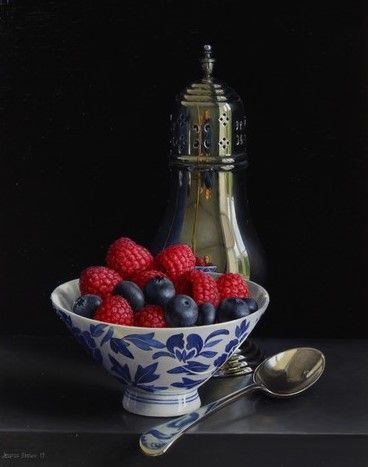 Still Life with Silver Sugar Shaker and Berries in a Porcelain Bowl by Jessica Brown