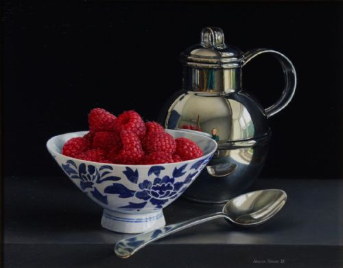 Jessica Brown - Still Life with Silver Jersey Cream Jug and Raspberries