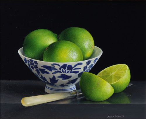 Jessica Brown - Still Life with Limes in a Porcelain Bowl and Cut Lime