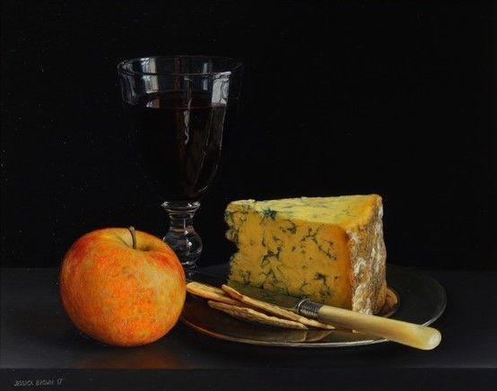 Still Life with Red Wine, Stilton and Cox's Orange Pippin by Jessica Brown