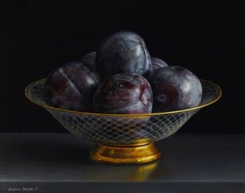 Jessica Brown - Still Life with Black Plums in an Engraved and Gilded Glass Bowl