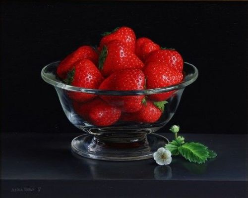 Jessica Brown -  Still Life with Strawberries in a Crystal Bowl, Strawberry Leaves and Flower