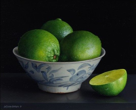 Still Life with Limes in a Qing Bowl and Cut Lime by Jessica Brown