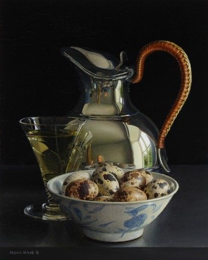 Still Life with White Wine, Quails Eggs and Silver Jug with Wicker Handle by Jessica Brown