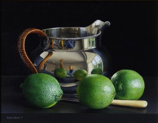 Still Life with Silver Water Jug and Limes by Jessica Brown