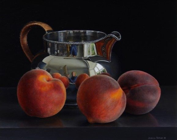 Still Life with Silver Water Jug and Peaches by Jessica Brown