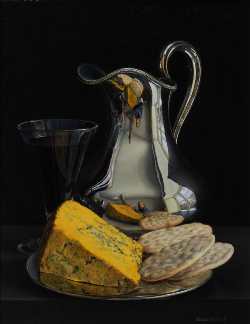 Jessica Brown - Still Life with Silver Jug, Claret and Blacksticks Blue Cheese