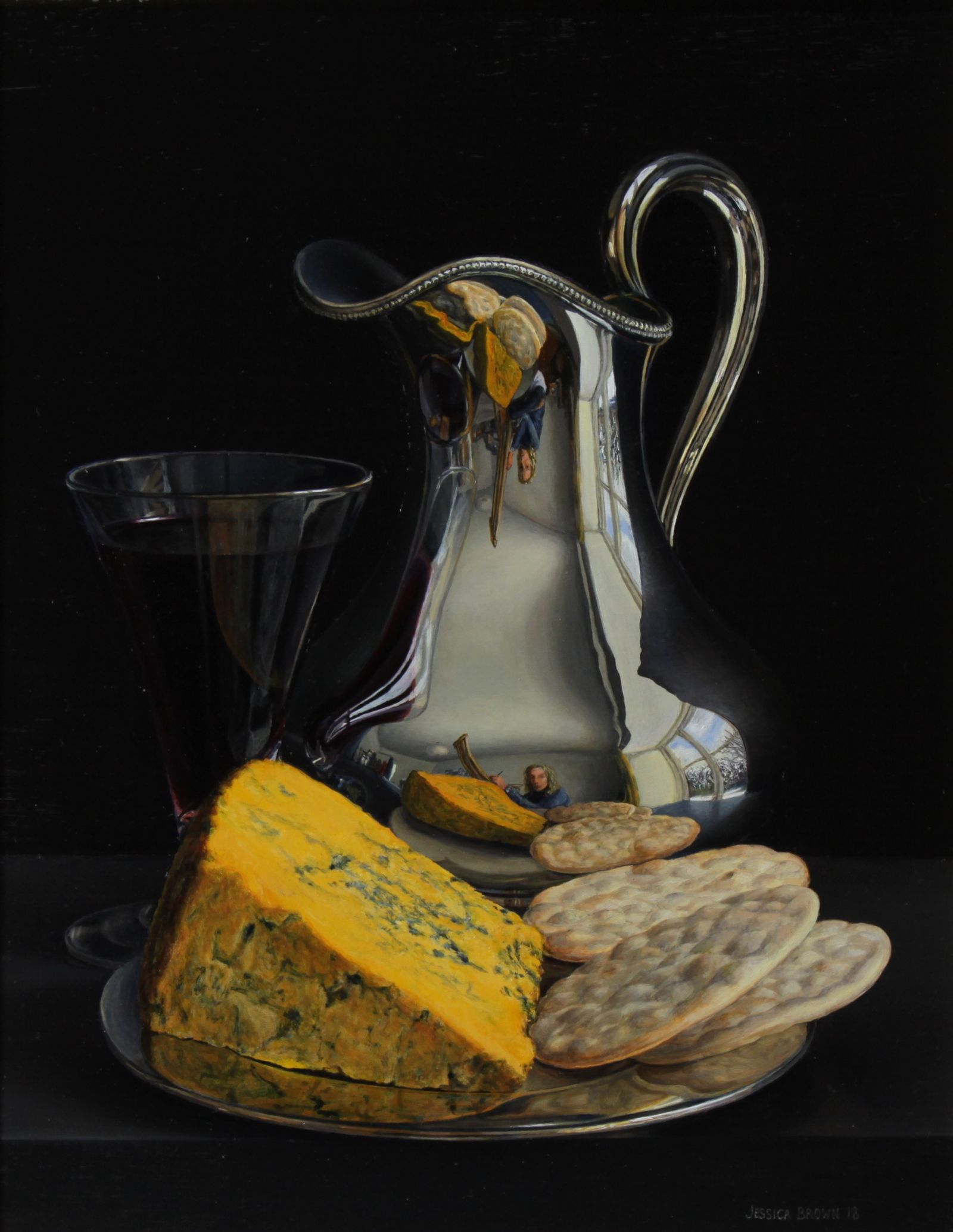 Still Life with Silver Jug, Claret and Blacksticks Blue Cheese by Jessica Brown
