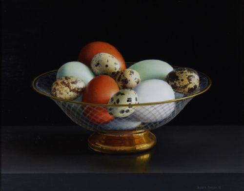 Jessica Brown - Still Life with Burford Brown, Cotswold Legbar and Quails Eggs in an Engraved and Gilded Glass Bowl
