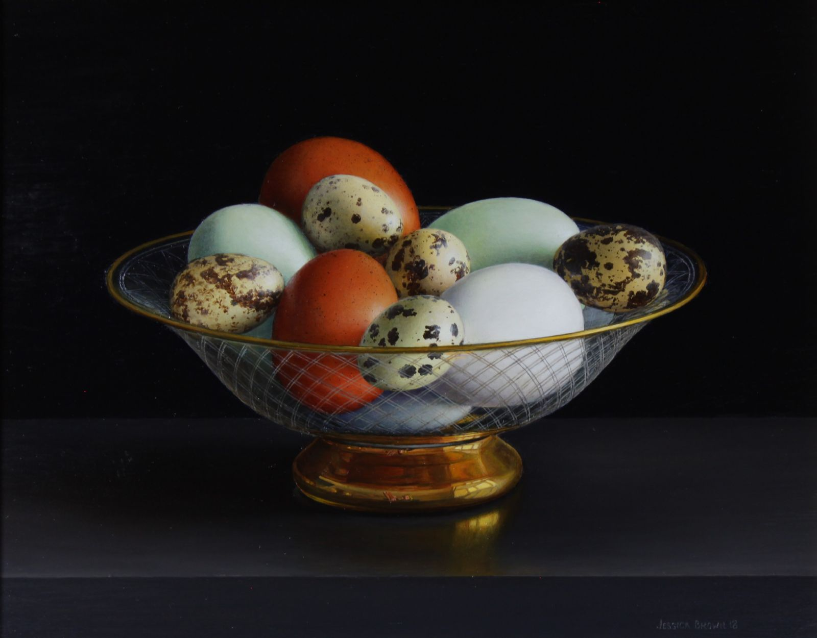 Still Life with Burford Brown, Cotswold Legbar and Quails Eggs in an Engraved and Gilded Glass Bowl by Jessica Brown