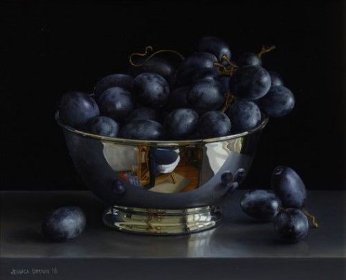 Jessica Brown - Still Life with Black Grapes in a Silver Bowl