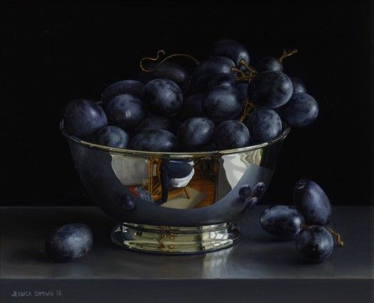 Still Life with Black Grapes in a Silver Bowl by Jessica Brown