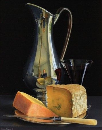 Jessica Brown - Still Life with Silver Art Nouveau Jug, Dorset Blue Vinny and Ogleshield Cheese