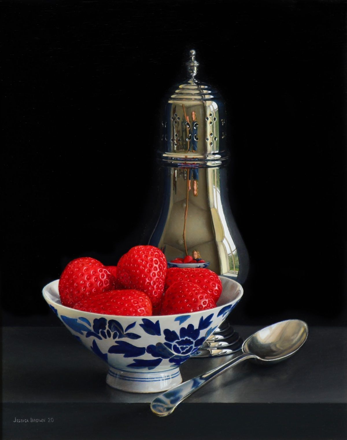 Still Life with Silver Sugar Shaker and Strawberries in a Chinese Porcelain Bowl by Jessica Brown