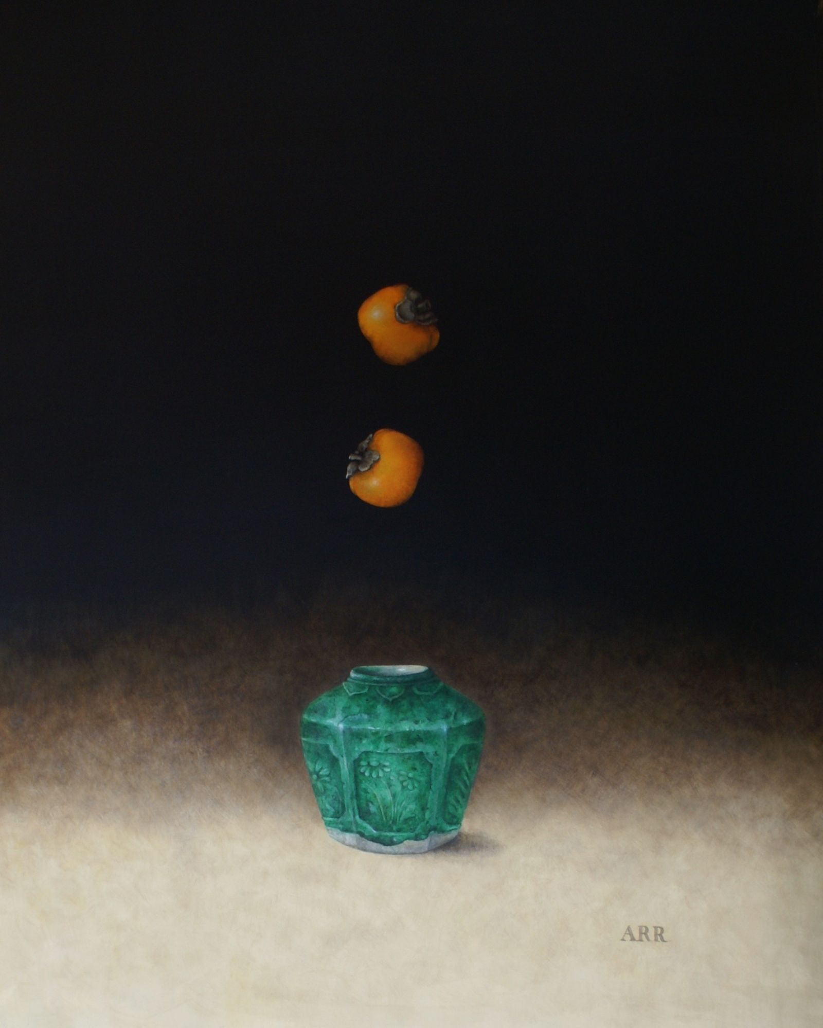 Green Ginger Jar with Two Falling Persimmon by Alison Rankin