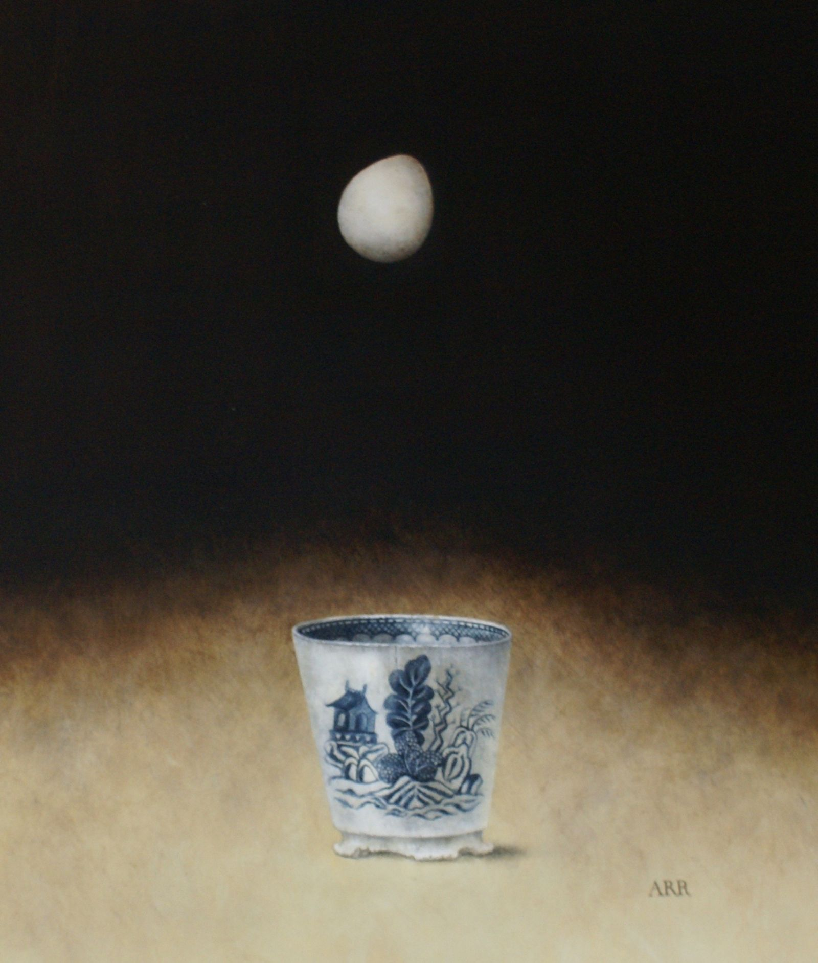 Alison Rankin - Chipped Blue Jar with Falling Egg