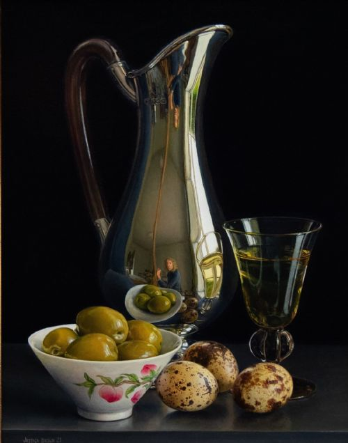 Jessica Brown - Still Life with Silver Jug, Quails Eggs and Olives in a Famille Rose Porcelain Bowl