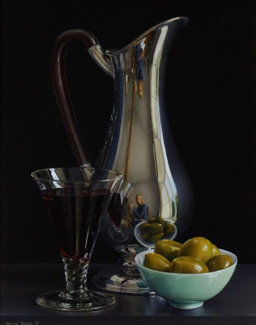 Jessica Brown - Still Life with Olives, Claret and Silver Art Nouveau Jug