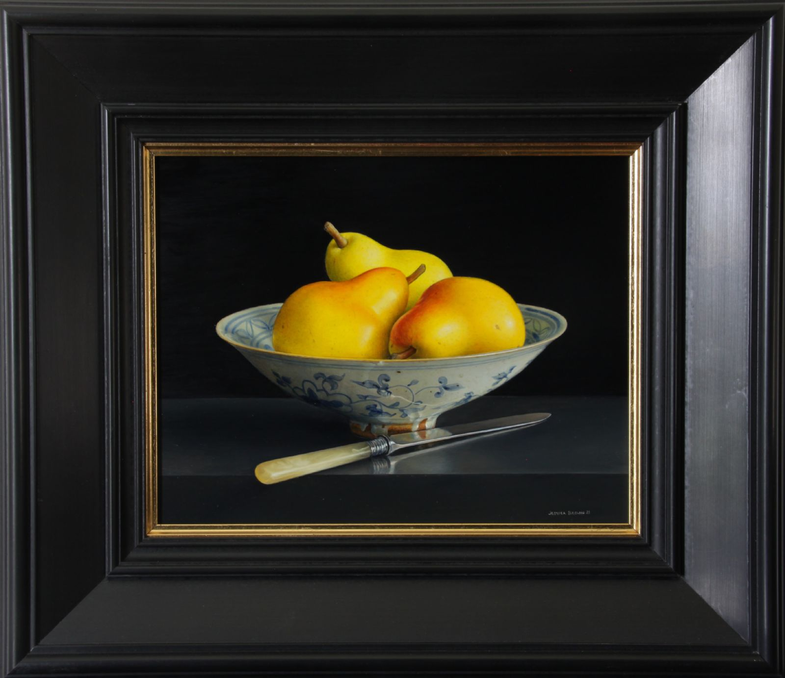 Still Life with Pears in a Chinese Bowl and Fruit Knife by Jessica Brown