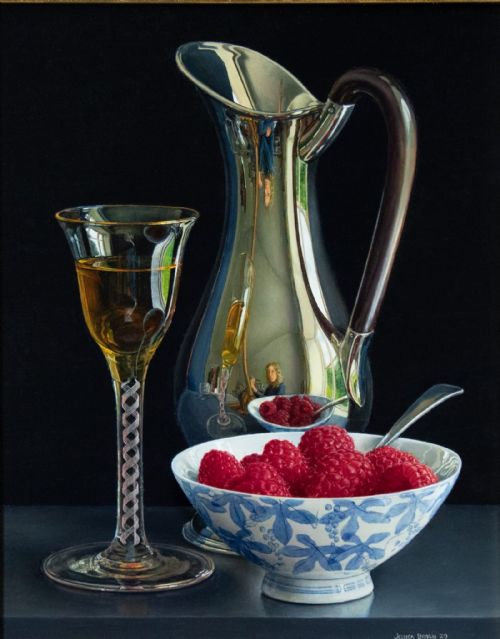 Jessica Brown - Still Life with Raspberries, Dessert Wine and Silver Jug