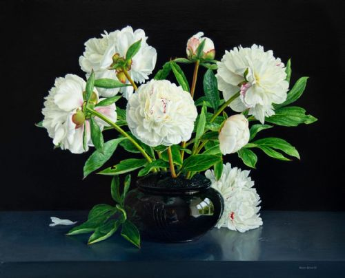 Jessica Brown -  Still Life with Peonies in a Porcelain Vase