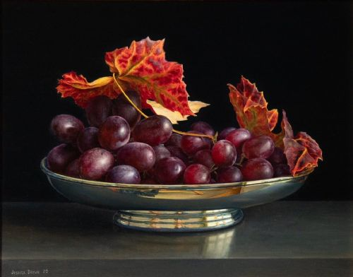 Jessica Brown - Still Life with Grapes and Vine Leaves in an Oval Silver Bowl