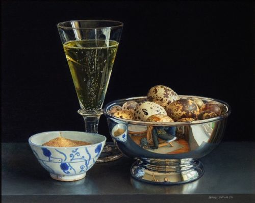 Jessica Brown - Still Life with Quails Eggs, Champagne and Celery Salt