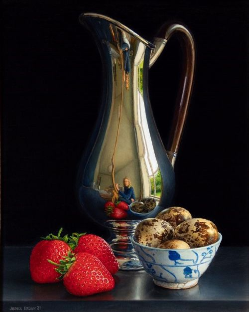 Jessica Brown - Still Life with Silver Jug, Quails Eggs and Three Strawberries