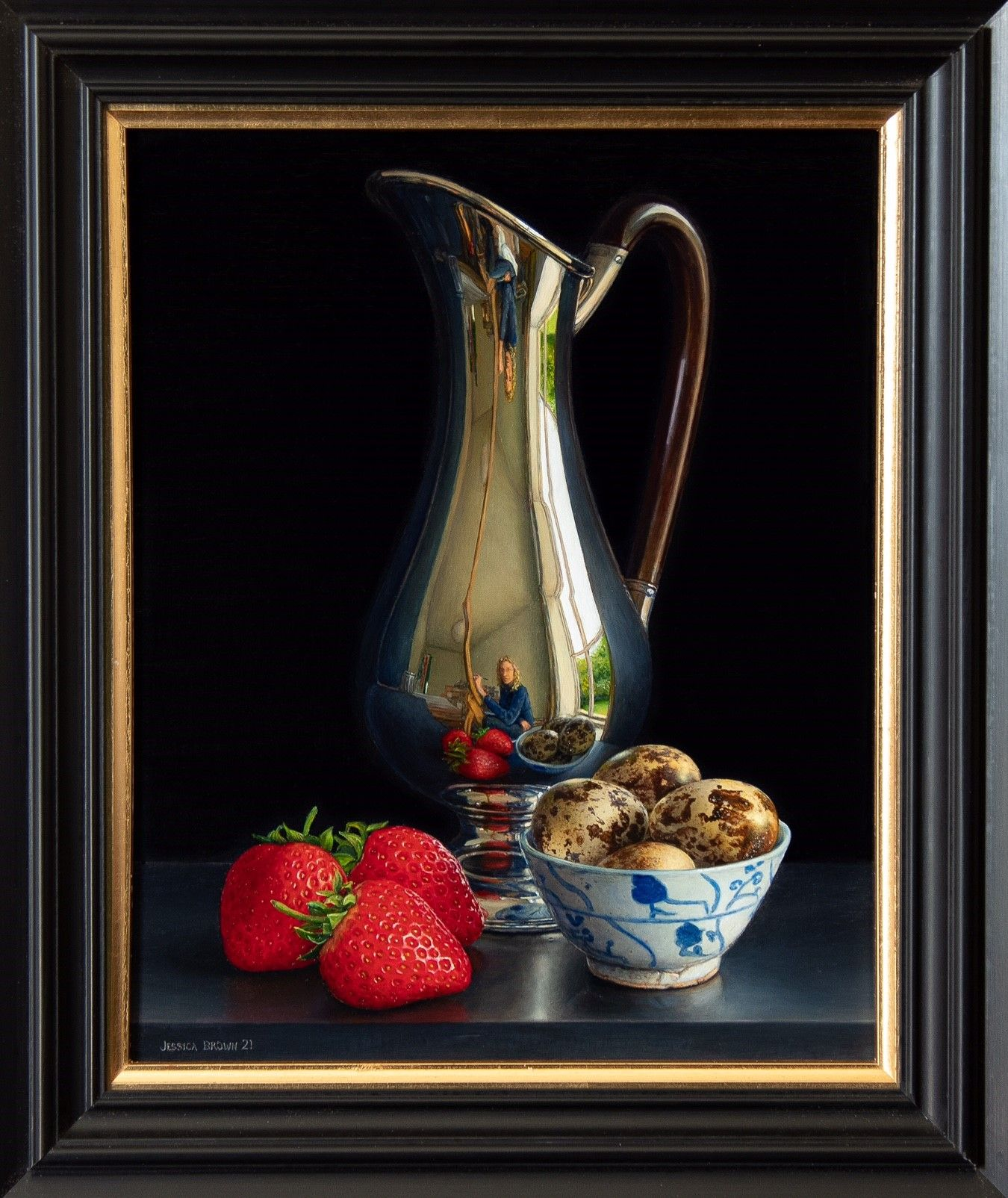 Still Life with Silver Jug, Quails Eggs and Three Strawberries by Jessica Brown